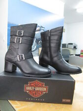 NEW Harley Davidson Womens Leather Boots Shoes Medium Black Holly