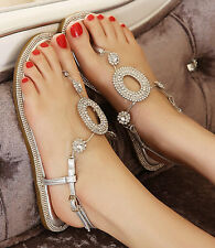 Silver Womens Diamond T Strap Thong Low Heel Flat Wedding Party Sandal Shoes 4-9