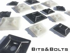 Various Cable Tie Bases Self Adhesive & Cradles Black & White Mount Clips Cable