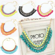 Womens Fashion Necklace Crystal Resin Statement Bib Chunky Choker Collar Party