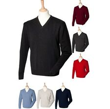 Mens Henbury 12 Gauge 100% Lambs Wool V Neck Warm Fine Knit Jumper Sweater Top
