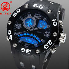 SH US OHSEN Mens Wrist Watches Digital Date Alarm Silicone Strap Sport Watch