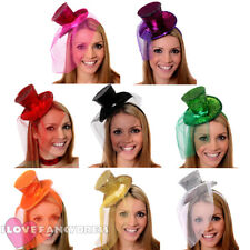 12 X MINI GLITTER TOP HAT HEADBAND VEIL LADIES BURLESQUE HEN NIGHT FANCY DRESS