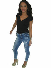 NEW WOMENS LADIES SKINNY FIT RIPPED JEANS DENIM SIZE 6 8 10 12 14