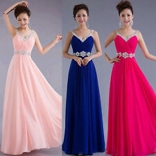 Sequins Women Sleeveless Prom Cocktail Evening Party Long Formal Gown Dress