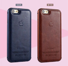 Luxury Aluminum Metal Frame Leather Back Case Cover Skin For iPhone 5S 6 6 PLUS