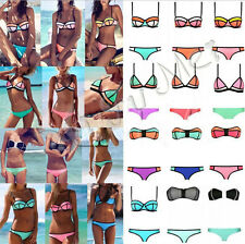 2015 latest! Sexy Womens Push UP NEOPRENE Triangle Bikini Swimsuit Swimwear SET