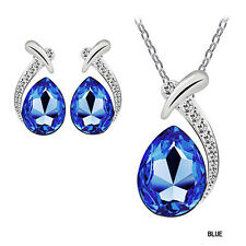 6 Colors Crystal Pendant Silver Plated Chain Necklace Stud Earring Jewelry Set