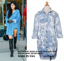 USA Made Celebrity KYLIE Style Oversize Wash Denim Tunic Shirt Shift Dress S M