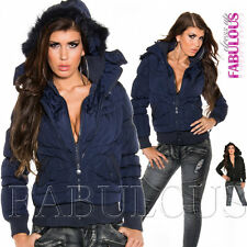 New Sexy Womens Bomber Jacket Size 6 8 10 12 14 Hot Trendy Warm Hooded Outerwear