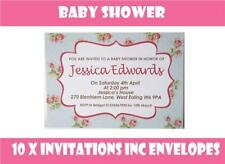 10 x Personalised Baby Shower Invitations Invites + Envelopes Pink Blue Floral