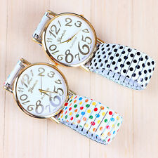 HOT New Stylish Unisex Polka Dot Geneva Casual Elastic Strip Quartz Watch