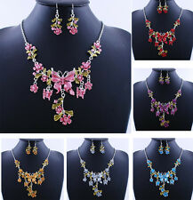 Fashion Statement Butterfly Acrylic Alloy Earring Necklace Sets Costume gifts