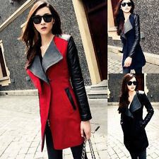 Winter Womens Long Warm PU Leather Sleeve Jacket Coat Parka Outerwear Trench