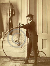 1893 Transgender Man with Tall Bicycle Vintage Photo Frances B