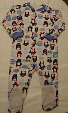 CARTERS Boys 3T Penguin Print Footed Zip Front Fleece Blanket Sleeper NWT