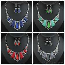 Fashion Charm Women Imitation stone resin plus drip Chain Bib Necklace Jewlery