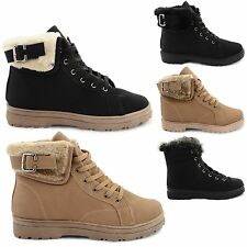 NEW WOMENS HIGH TOP CASUAL TRAINERS FLAT LACE UP PUMPS LADIES FUR SHOES SIZE UK