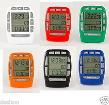 Triple Digital Cooking Timer Clock Magnetic LCD Countdown Up 6 COLOURS Stopwatch