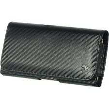 Carbon Fiber Leather Pouch Holster Belt Clip Carrying Case for Phones
