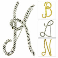 Large Script Rope Initial Pin Brooch - Choose Letter &  Silver or Gold Tone