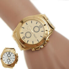 2015 HOT New Big Digital Steel Sport Quartz Wrist Hour Gold Bracelet Dial Watch