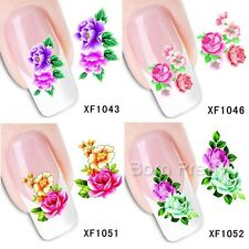 1Sheet Rosa Chinensis Flower Nail Art Water Decals Transfer Stickers