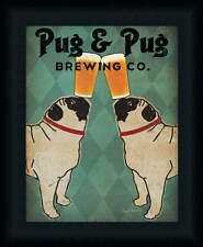 Pug and Pug Ryan Fowler Brewing Beer Glass Balancing on Snout Framed Art Print