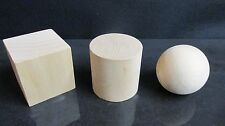 Natural Wooden Craft Geometric Shapes 10mm to 75mm Diameter Cube, Ball, Cylinder