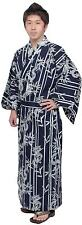 Japanese Kimono Men's Casual Cotton Yukata Robe Dragon and Bamboo stripe #749