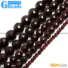"Natural Garnet Gemstone Faceted Round Beads Free Shipping 15"" 4mm 5mm 6mm 7mm"