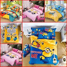 """New Kids """"Despicable Me 2"""" printed Bed Quilt Cover Cotton Set Single/Queen/King"""