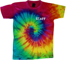 STAFF tie dye t-shirt Front & Back printed tie dye tee shirt summer camp event