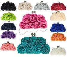 Ladies Satin Diamante Purse Clutch Bag Bridal Prom Wedding Evening Bag Handbag
