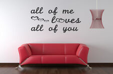 all of me, John Legend lyrics wall art vinyl decal sticker