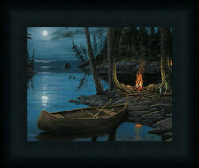 Camp Fire Canoe by Ervin Molnar Lake Scene Framed Art Print Décor Picture 8x10