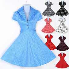 CHEAP 1950's Polka Dot Vintage Rockabilly Housewife Pinup Evening Party Dresses