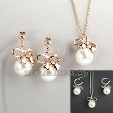 A1-S028 Fashion Earrings Necklace Jewelry Set 18KGP Solitaire White Pearl