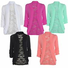 NEW WOMENS LACE BACK LONG SLEEVE OPEN S POCKET LADIES BOYFRIEND CARDIGAN