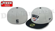 NEW ERA 5950 OKLAHOMA CITY THUNDER Light Grey & Navy Cap NBA Playoffs Fitted Hat
