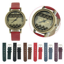 New Womens Retro Design Flower Analog Quartz Wrist Watches Leather Band Unique T