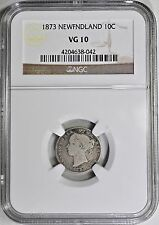 1873 10 Cents Silver Newfoundland Canada NGC VG-10 Very Good 10c