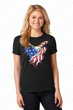 American Eagle USA Flag T-shirts for LADIES, Old glory WOMEN Tees - 1219C