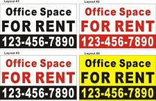 3ftX5ft Custom Printed Office Space FOR RENT Banner Sign with Your Phone Number
