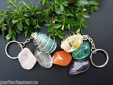 Large Crystal Tumblestone KEYRINGS - LIST B - Huge Selection!