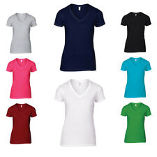 New Anvil Womens V Neck Tee Ladies Short Sleeved Basic T-Shirt Top Size S-2XL