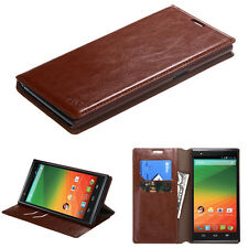 NEW For ZTE ZMAX Z970 BROWN WALLET LEATHER SKIN CASE COVER + SCREEN PROTECTOR