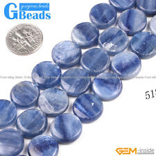 "Natural Blue Kyanite Gemstone Coin Flat Beads Free Shipping 15"" 12mm 14mm 16mm"