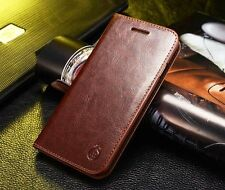 Genuine Real Leather Wallet Card Holder Flip Case Cover for Samsung & iPhone