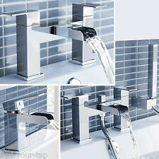 CASCADE WATERFALL SINK BASIN MONO SQUARE BATH FILLER SHOWER MIXER CHROME TAP SET